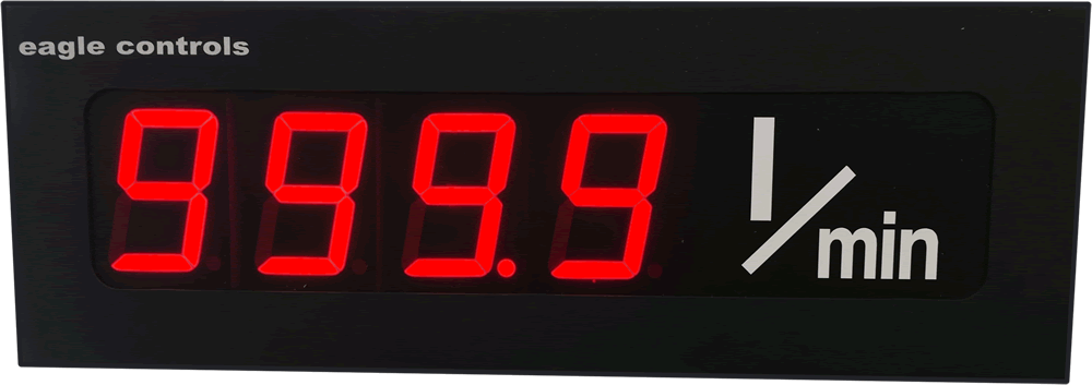 Large Digital A to D display legend litres per minute