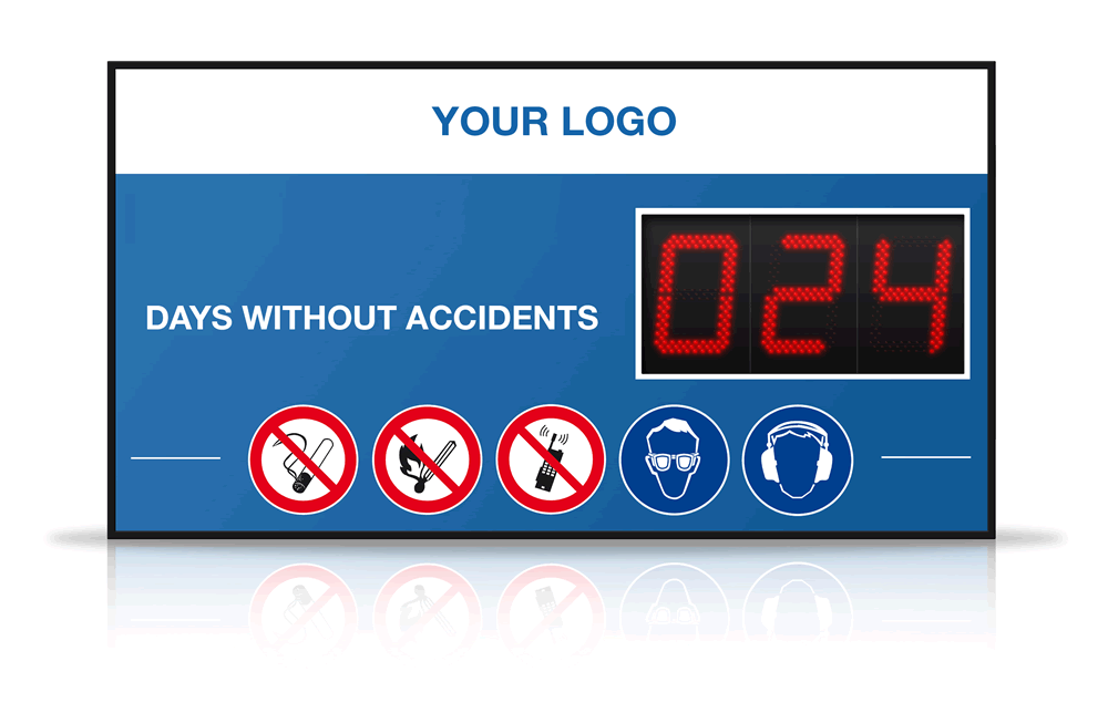 Example large digital LED Days Since Last Accident Display